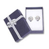 Bow-tie Large Earring Jewelry Box Blue (Dozen)