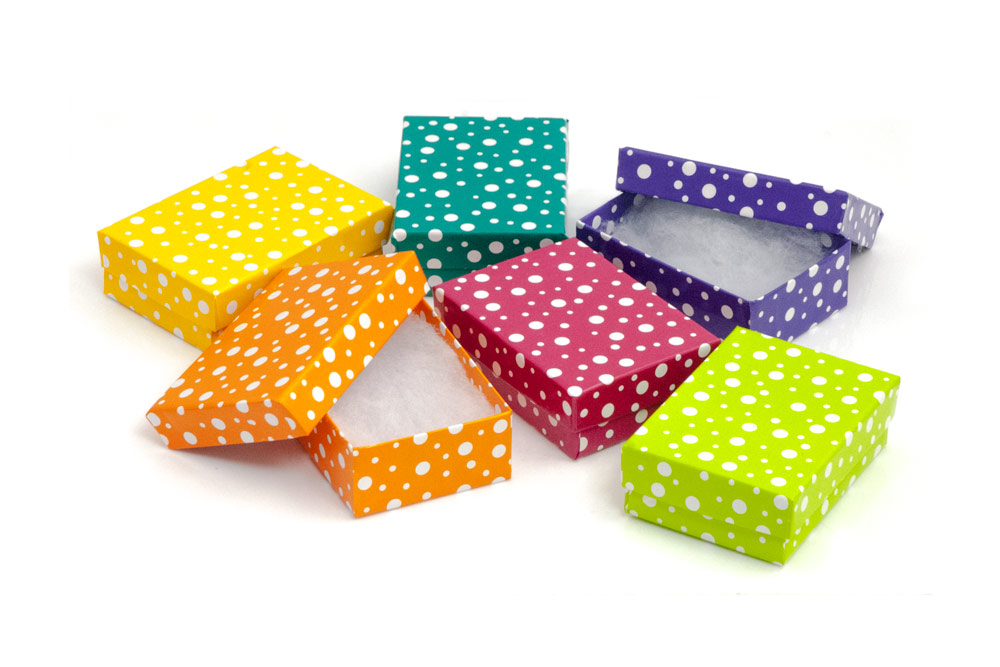 3 x 2 Polka Dot Cotton Filled Jewelry Gift Box Case of 100 100