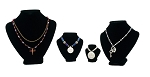 4-Piece Black Velvet Modern Necklace Display Bust Kit