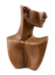 "Vintage Wood Look 9"" Necklace and Earring Display Bust"