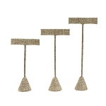 Burlap Earring T-Bar Display Stand (Set of 3)