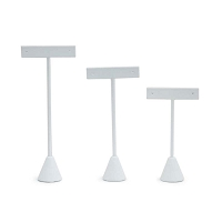 White Leatherette Earring T-Bar Display Stand (Set of 3)