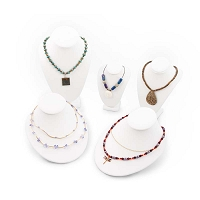 White Leatherette Necklace Display Bust 5 Piece Assortment