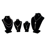 4-Piece Black Velvet Necklace and Earring Combo Display Bust Kit