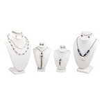 4-Piece White Leatherette Necklace and Earring Combo Display Bust Kit