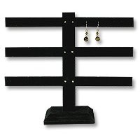 Earring Display Stand T Bar Jewelry Display 3-Tier Black