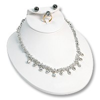 Low Necklace Display Bust Combo White