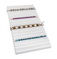 White Leatherette Ribbed Bracelet Display Pad Insert