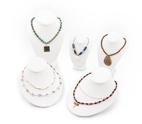 White Leatherette Necklace Display Bust 5 Piece Assortmet