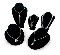 Display Assortmet of Necklace Busts Black
