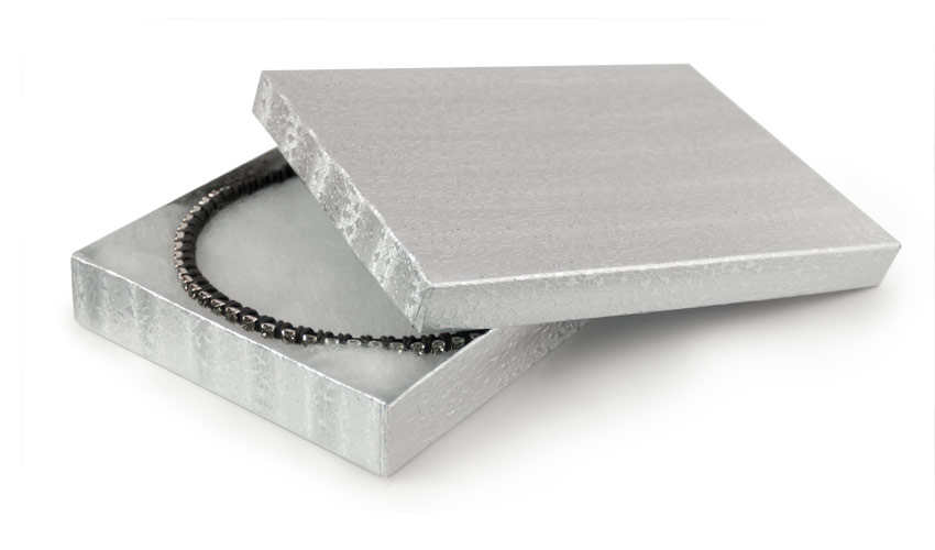 Silver Foil Cotton Filled Jewelry Box S75 jewelry boxes at