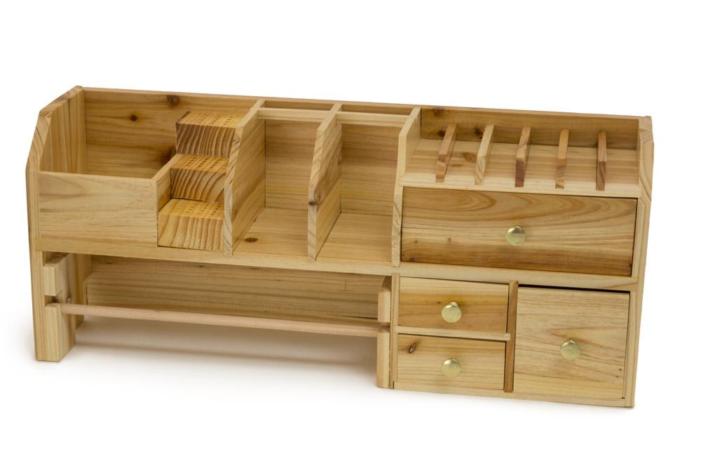 Wood Bench Top Organizer
