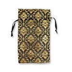 Organza Pouch 2x5 Gold/Black Damask Pattern (12-Pcs)