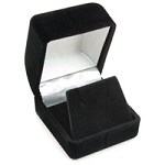 Small Flocked Black Earring Box