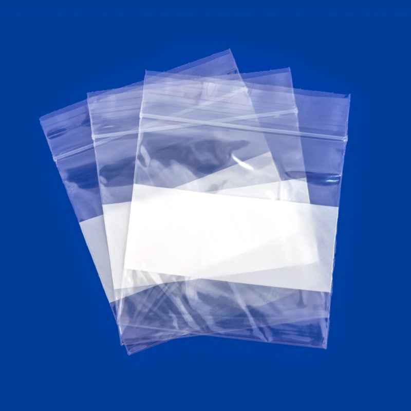 3x3 Plastic Zip Lock Bags White Block 100 Pcs