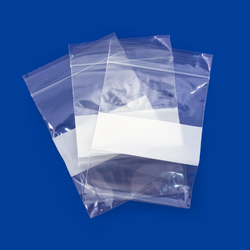 3x4 Plastic Zip Lock Bags White Block 100 Pcs