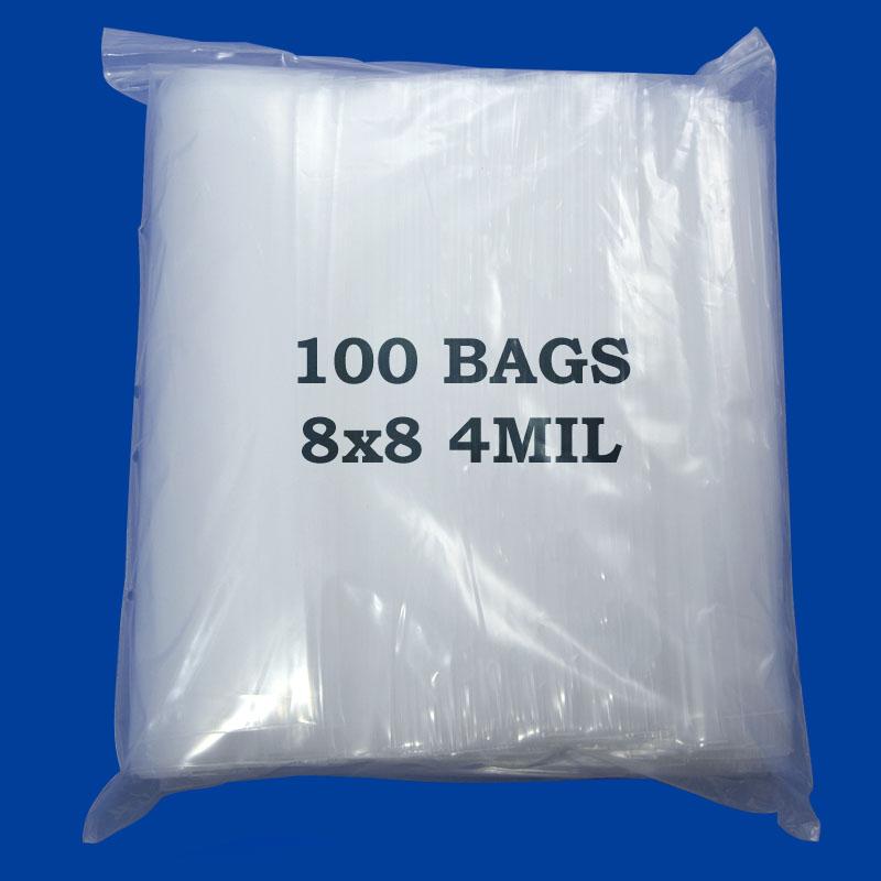 8x8 4-Mil Plastic Zip Lock Bags (100pcs)
