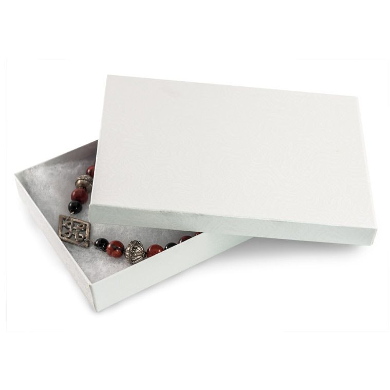 White Jewelry Gift Boxes Cotton Filled W75 Cotton Filled Jewelry