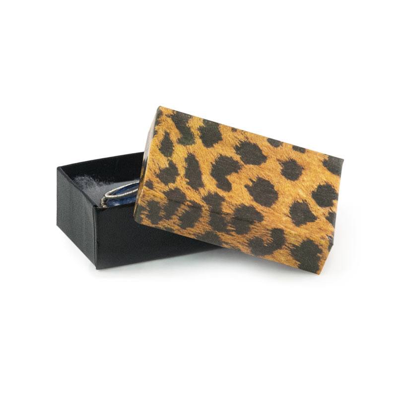 Leopard Paper Cotton Filled Jewelry Box L21 wholesale jewelry