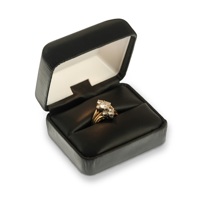 Lighted Black Leatherette Ring Box Wholesale Engagement Ring