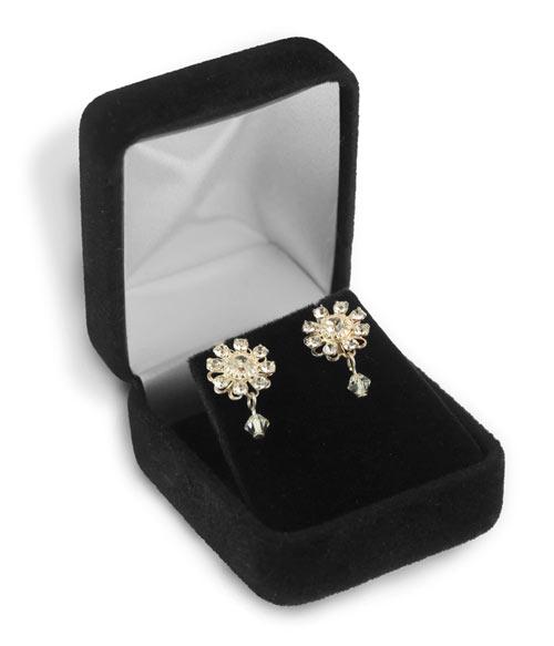 Stud Earring Box Black Velvet small velvet jewelry boxes