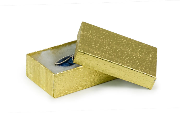 Gold Foil Jewelry Box G32 cotton filled cardboard jewelry boxes
