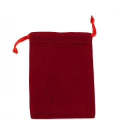 Velveteen Drawstring Pouch Red (Size: 3