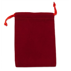 Velveteen Drawstring Pouch Red (Size: 4