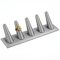 Ring Finger Display Five Steel Grey Leatherette