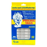 Jewelry Price Tags - Rectangle Silver (Pack of 1000)