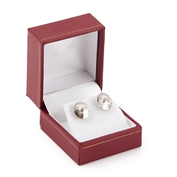 Earring Box Red Leatherette