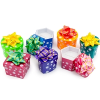 Mini Hat Boxes - Assorted Polka Dot Colors (Package of 48)