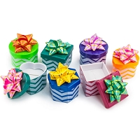 Mini Hat Boxes - Assorted Chevron Patterns (Package of 48)