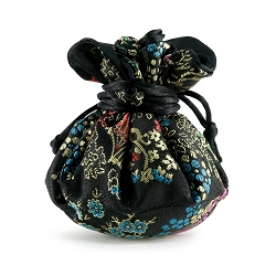 Brocade Cinch Jewelry Pouch Black