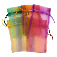 Organza Pouch 3x6 Stripes Mix (12-Pcs)