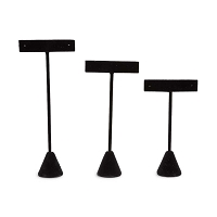 Black Velvet Earring T-Bar Display Stand (Set of 3)