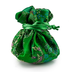 Brocade Cinch Jewelry Pouch Green