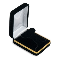 Hoop Earring Box Black Velvet with Gold Trim