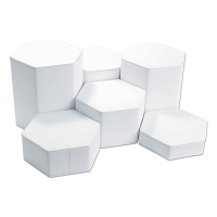 White Leatherette Riser Display Set 6pc