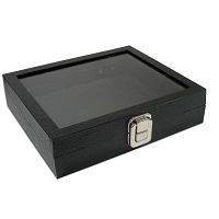 Jewelry Case w/Glass Lid 1/2 Size Black