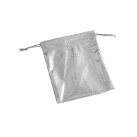 Metallic Drawstring Pouch Medium Silver (Dozen)