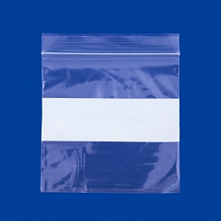 4x4 Plastic Zip Lock Bags White Block (100-Pcs)