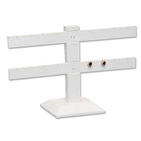 Earring Display Stand T Bar Jewelry Display  2-Tier White