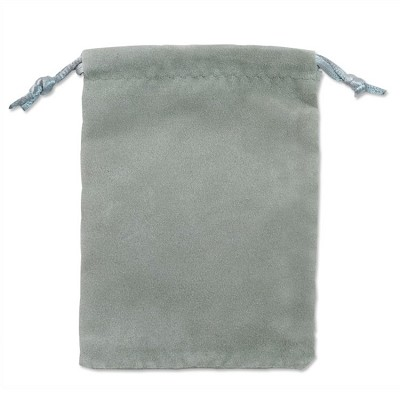 "Velveteen Drawstring Pouch Grey (Size:  4"" x 5"") (Pack of 10)"