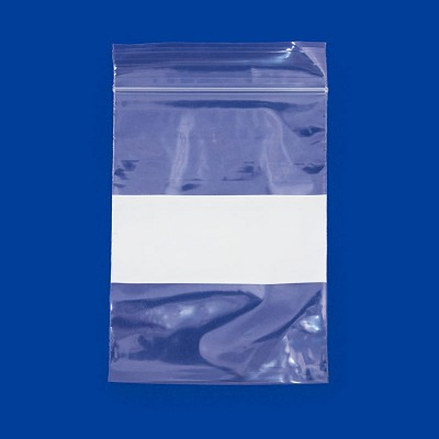 3x4 Plastic Zip Lock Bags White Block (100-Pcs)