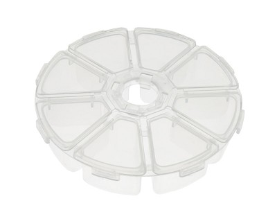 Clear Plastic Round 8 Compartment Jewelry Organizer