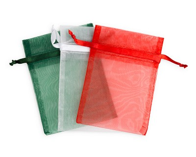 "4x5"" Large Holiday Mix Green, Red & White Organza Gift Bags (15-Pcs)"