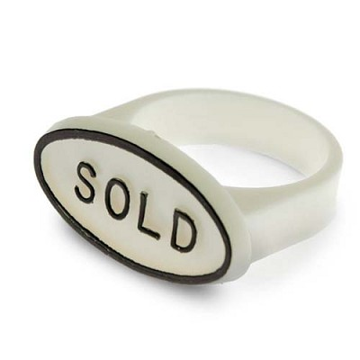 White Sold Signs for Ring Fingers (Pack of 10)