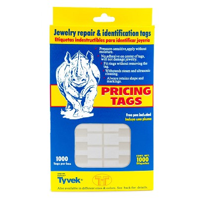Jewelry Price Tags - Rectangle White (Pack of 1000)