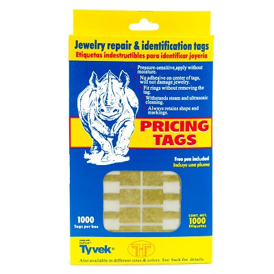 Jewelry Price Tags - Rectangle Gold (Pack of 1000)